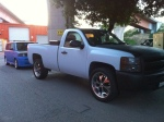 Chevy Truck in Light Grey/Blue Matte Vinyl and Carbon Fiber Hood