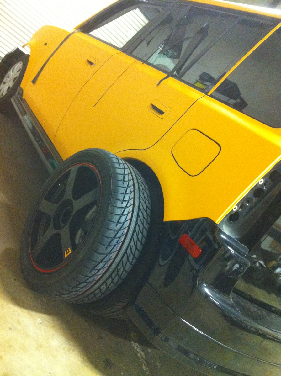 New Wheels for the Matte Yellow Scion XB