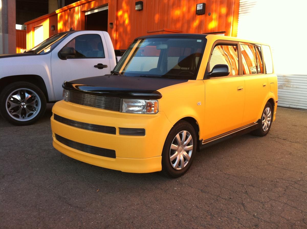 Scion XB Matte Yellow W/ Carbon Fiber Hood