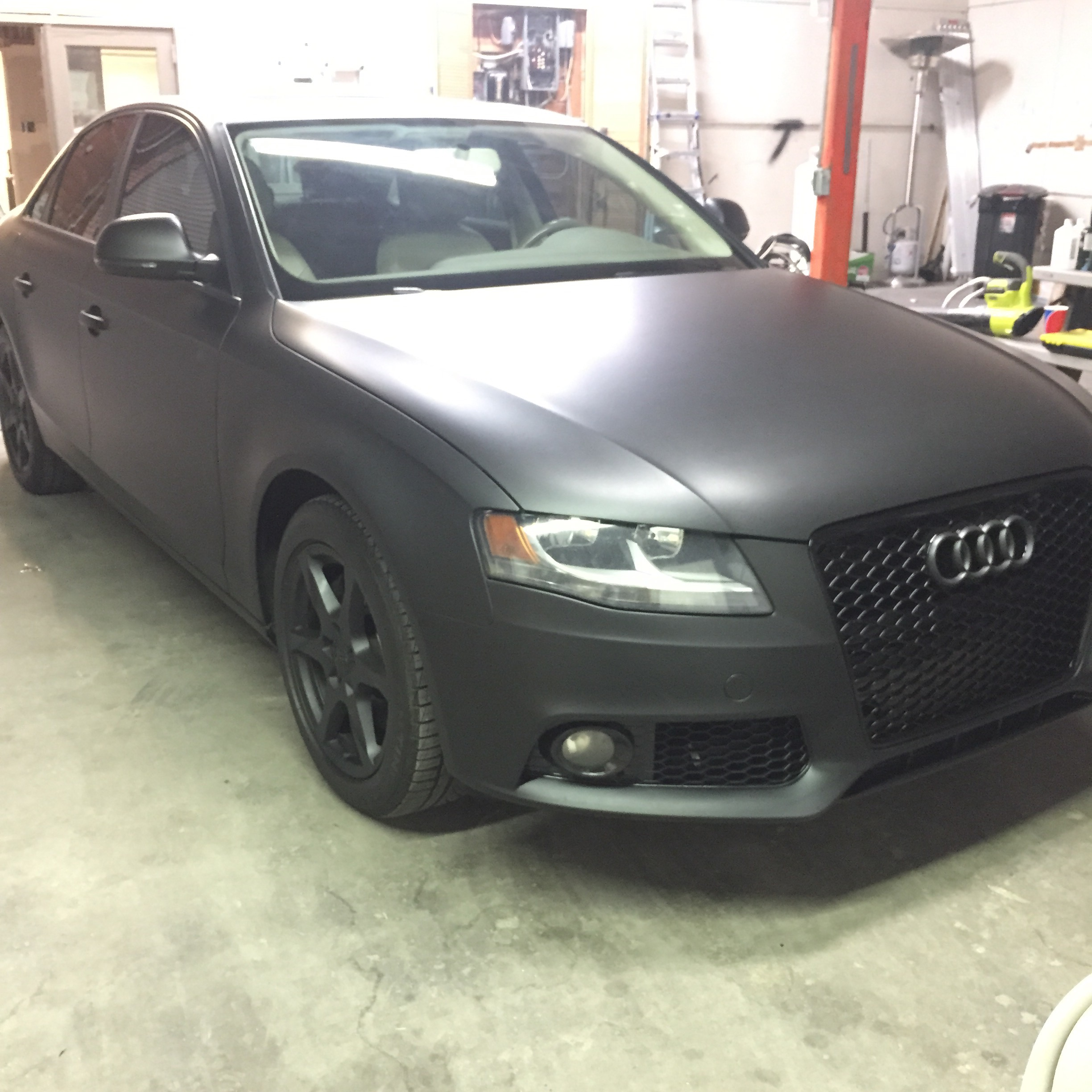 Matte Black Color Change Car Wrap – 2009 Audi A4 Sedan ...